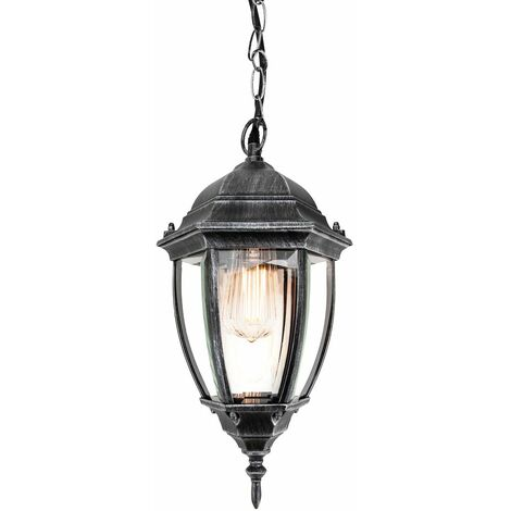 Traditional Black and Silver Outdoor IP44 Hanging Porch Lantern Light Fitting by Happy Homewares