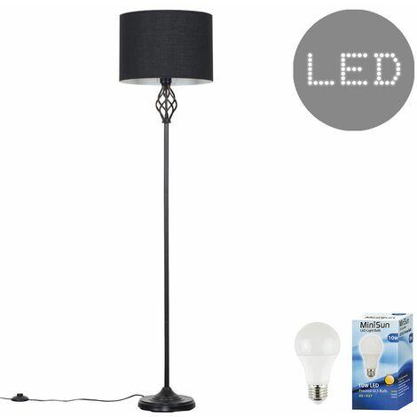 Traditional Black Barley Twist Floor Lamp 10W LED GLS Bulb Warm White - Black