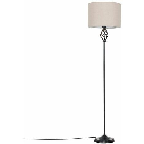 Traditional Black Barley Twist Floor Lamp + Cylinder Light Shade - Grey