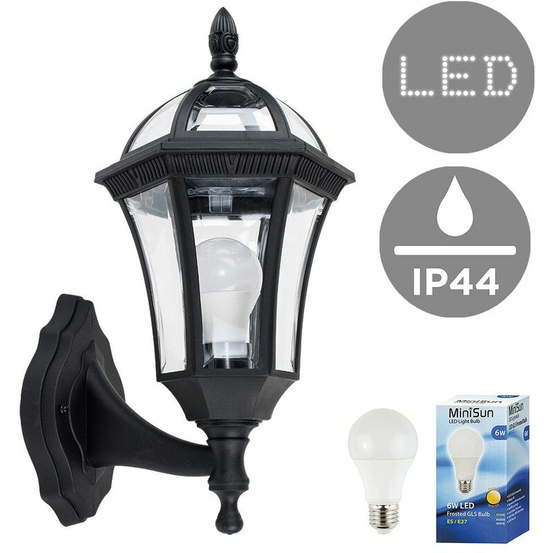 Traditional Black & Clear Outdoor Security IP44 Wall Light Lantern + 6w LED  ES E27 Bulb