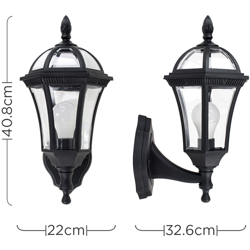 Traditional Black Clear Outdoor Security Ip44 Wall Light Lantern 6w Led Es E27 Bulb