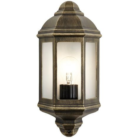 Traditional Black/Gold Cast Aluminium Flush Wall Lantern Light Fitting by Happy Homewares
