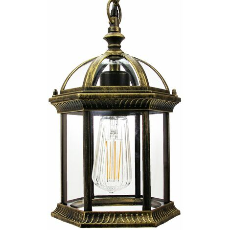 Traditional Black/Gold Cast Aluminium Outdoor IP44 Ceiling Lantern Light Fitting by Happy Homewares