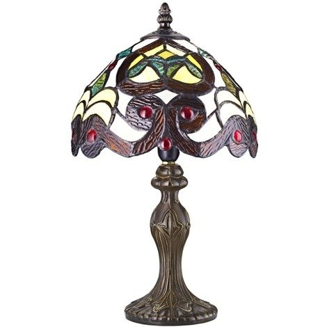 """main image of """"Traditional Burnt Orange Striped Tiffany Lamp with Red Glass Beads by Happy Homewares"""""""