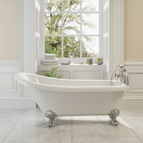 Traditional Buxton Freestanding Bath Single Ended Ball Feet 1550mm Acrylic White