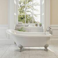 Traditional Buxton Freestanding Bath Single Ended Ball Feet 1700mm Acrylic White