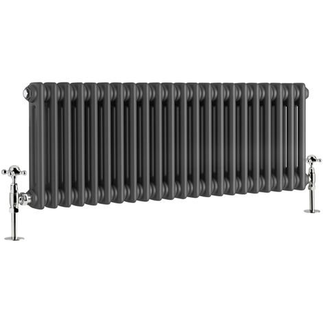 """main image of """"Traditional Cast Iron Style Anthracite Double Horizontal Radiator 300 x 1010mm"""""""