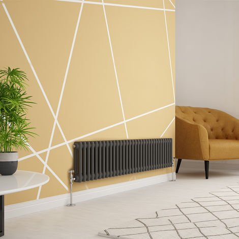 """main image of """"Traditional Cast Iron Style Anthracite Double Horizontal Radiator 300 x 1460mm"""""""