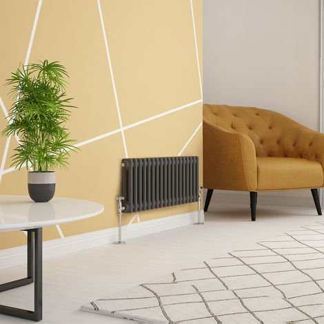 Traditional Cast Iron Style Anthracite Double Horizontal Radiator 300 x 830mm