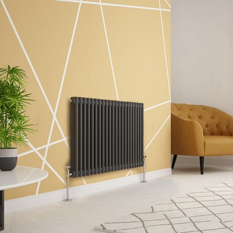 Traditional Cast Iron Style Anthracite Double Horizontal Radiator 600 x 1010mm