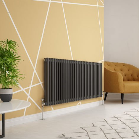 """main image of """"Traditional Cast Iron Style Anthracite Double Horizontal Radiator 600 x 1460mm"""""""