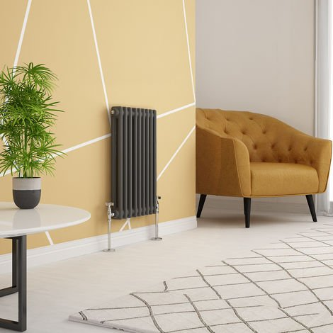 """main image of """"Traditional Cast Iron Style Anthracite Double Horizontal Radiator 600 x 425mm"""""""