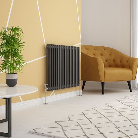Traditional Cast Iron Style Anthracite Double Horizontal Radiator 600 x 830mm