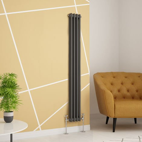 Traditional Cast Iron Style Anthracite Double Vertical Radiator 1500 x 200mm