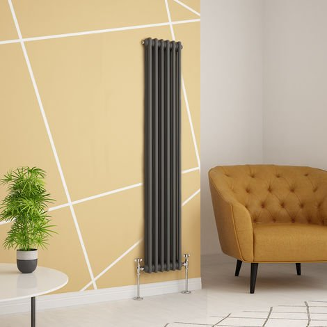 Traditional Cast Iron Style Anthracite Double Vertical Radiator 1500 x 290mm