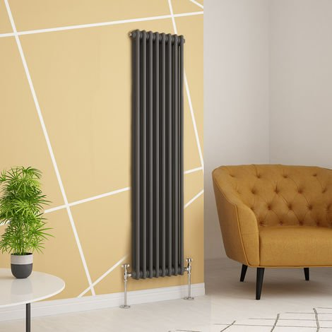 Traditional Cast Iron Style Anthracite Double Vertical Radiator 1500 x 380mm