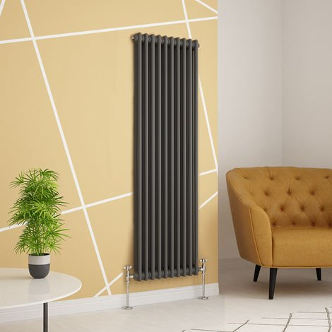 Traditional Cast Iron Style Anthracite Double Vertical Radiator 1500 x 470mm