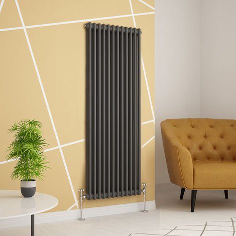 Traditional Cast Iron Style Anthracite Double Vertical Radiator 1500 x 560mm