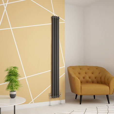 Traditional Cast Iron Style Anthracite Double Vertical Radiator 1800 x 200mm