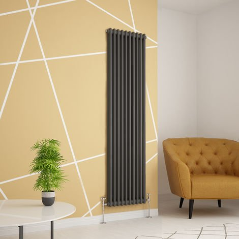 Traditional Cast Iron Style Anthracite Double Vertical Radiator 1800 x 470mm