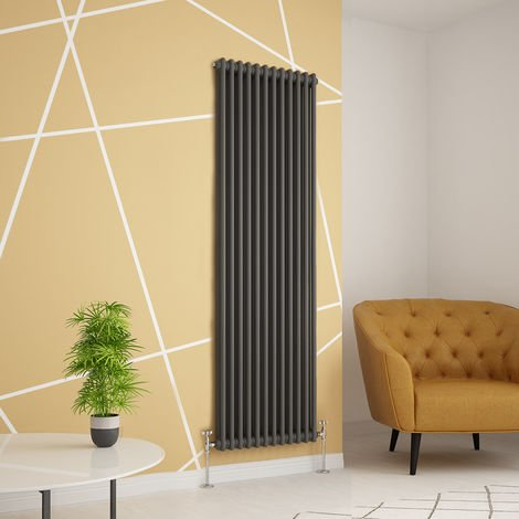 Traditional Cast Iron Style Anthracite Double Vertical Radiator 1800 x 560mm