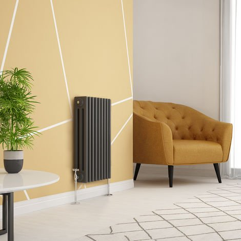 Traditional Cast Iron Style Anthracite Triple Horizontal Radiator 600 x 425mm