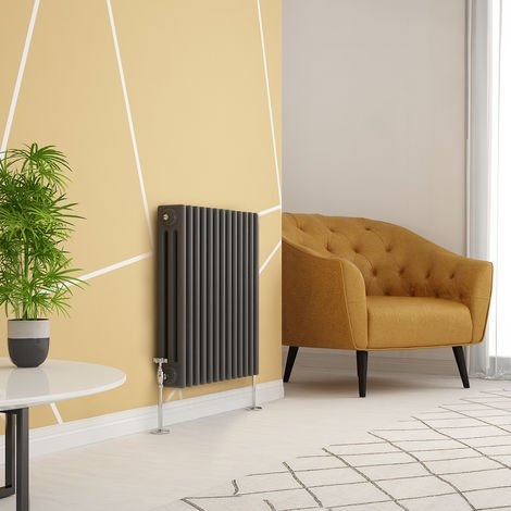 Traditional Cast Iron Style Anthracite Triple Horizontal Radiator 600 x 605mm