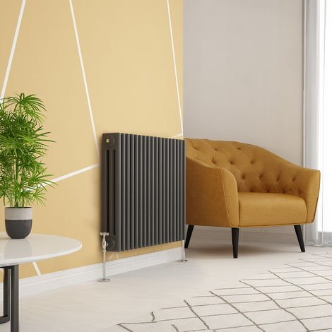 Traditional Cast Iron Style Anthracite Triple Horizontal Radiator 600 x 830mm