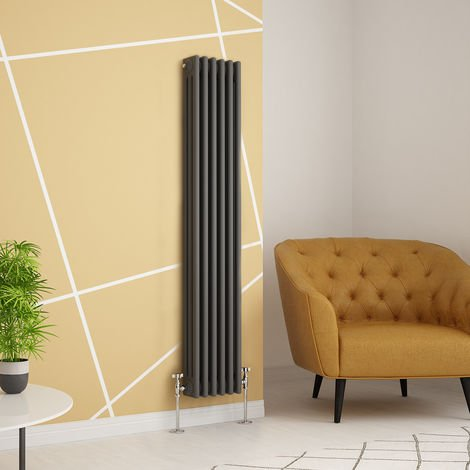 Traditional Cast Iron Style Anthracite Triple Vertical Radiator 1500 x 290mm