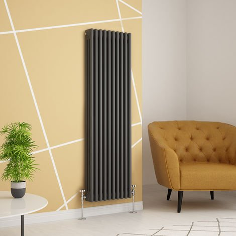 Traditional Cast Iron Style Anthracite Triple Vertical Radiator 1500 x 470mm
