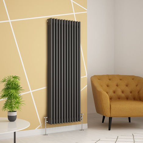 Traditional Cast Iron Style Anthracite Triple Vertical Radiator 1500 x 560mm