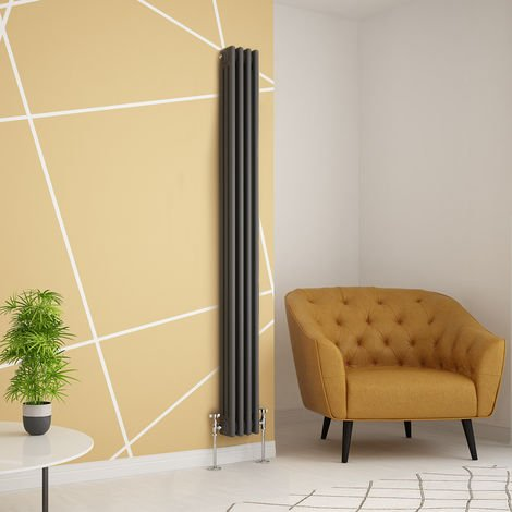 Traditional Cast Iron Style Anthracite Triple Vertical Radiator 1800 x 200mm