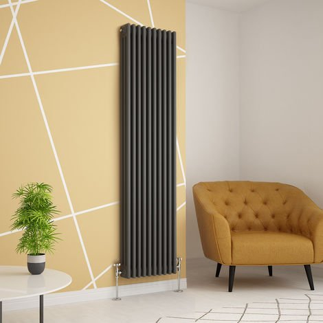 Traditional Cast Iron Style Anthracite Triple Vertical Radiator 1800 x 470mm