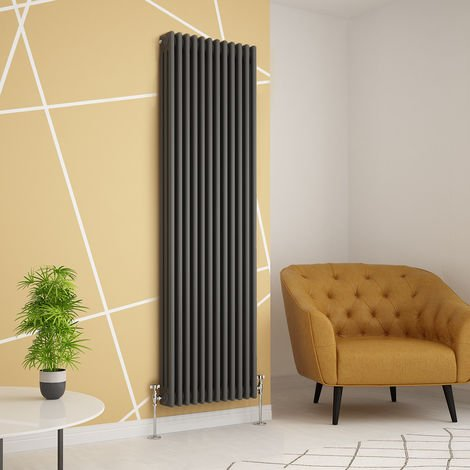 Traditional Cast Iron Style Anthracite Triple Vertical Radiator 1800 x 560mm
