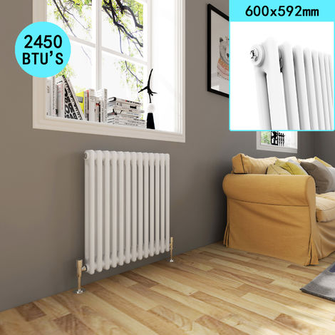 Traditional Cast Iron Style Horizontal Radiator with White Double Column 600 x 592 mm