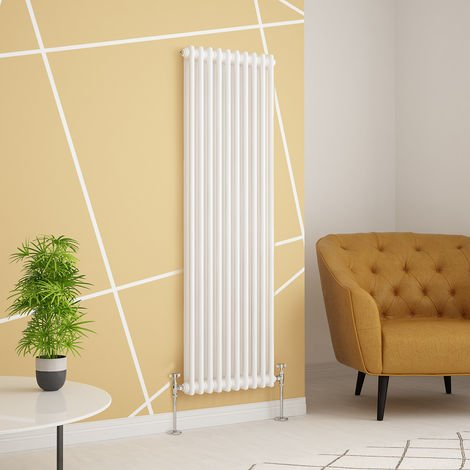 Traditional Cast Iron Style White Double Vertical Radiator 1500 x 470mm