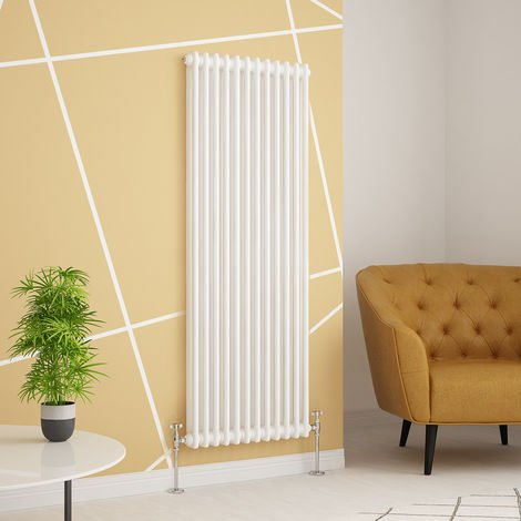 Traditional Cast Iron Style White Double Vertical Radiator 1500 x 560mm