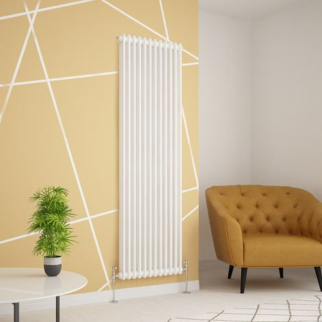 Traditional Cast Iron Style White Double Vertical Radiator 1800 x 560mm