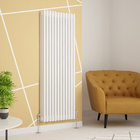Traditional Cast Iron Style White Triple Vertical Radiator 1500 x 560mm