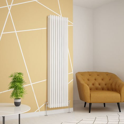 Traditional Cast Iron Style White Triple Vertical Radiator 1800 x 470mm