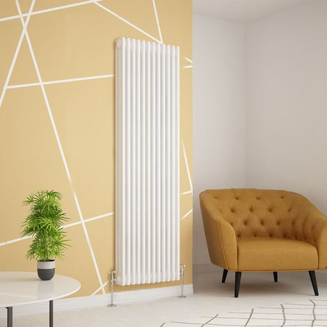 Traditional Cast Iron Style White Triple Vertical Radiator 1800 x 560mm