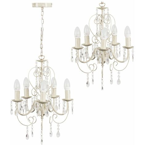 Traditional Chandelier 5 Way Ceiling Light Jewel Droplet Lighting