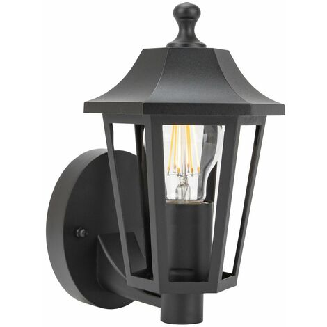Traditional Classic Outdoor Matt Black Wall Lantern Light Fixture IP44 Rated by Happy Homewares