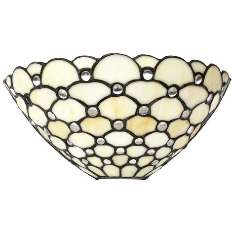 Traditional Clear Glass Tiffany Wall Light Fitting with Multiple Circular Beads by Happy Homewares