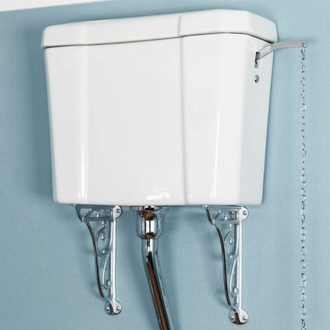 Traditional Cloakroom High Level Toilet Cistern White Ceramic Bathroom