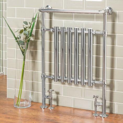 Traditional Designer Bathroom Heated Towel Radiator Rail Warmer 952 x 659 mm Chrome