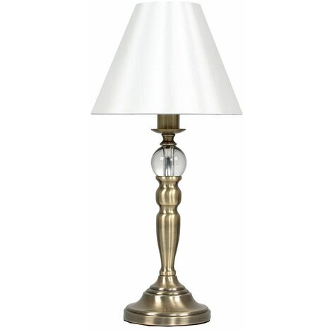 Traditional Dimmable Touch Table Lamp & Pleated Cream Shade - Antique Brass - Gold