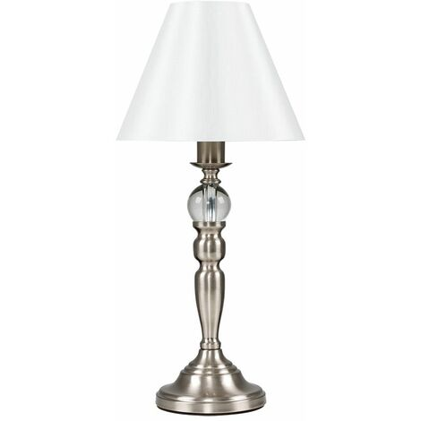 Traditional Dimmable Touch Table Lamp & Pleated Cream Shade - Brushed Chrome - Silver