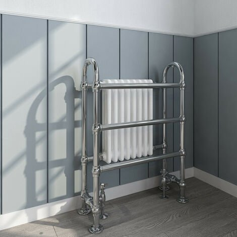 Traditional Double Heated Towel Rail Bathroom Column Radiator 904 x 674 mm White