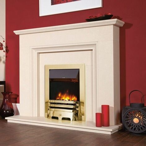 Traditional Electric Fireplace Stove Heater Fire Inset Flame Effect Brass Finish